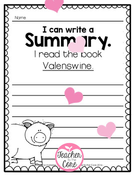 Valenswine- Close reading, Summarizing, and Story Elements!