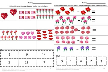 Valentine's Day Counting Cut and Paste No PREP Printables for Math Centers