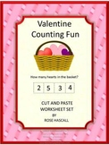 Valentine's Day Math Counting Worksheets Cut and Paste Special Education Math