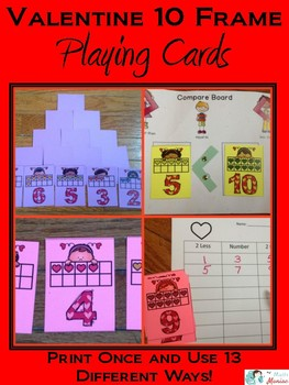 Valentine 10 Frame Playing Cards and Activity Set