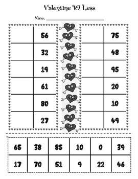 Valentine 10 More, 10 Less Worksheets