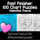 Valentine 100 Chart Puzzles | Fast Finishers