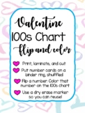 Valentine 100s chart flip and color activity