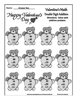 Valentine's Day Worksheets: Valentine's Math Drills for Addition & Subtraction
