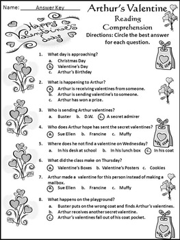 Valentine's Day Language Arts Activities: Arthur's Valentine Activity Packet