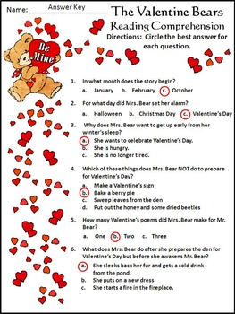 Valentine's Day Reading Activities: The Valentine Bears Activity Packet