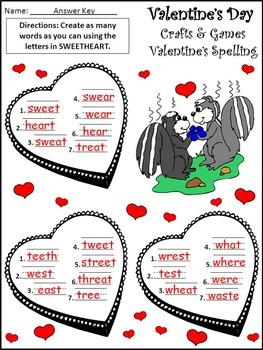 Valentine's Day Craft Activities: Valentine's Day Crafts & Games Activity Packet