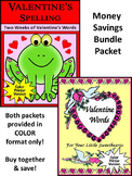Valentine's Day Spelling Activities: Valentine's Spelling & Words Bundle - Color