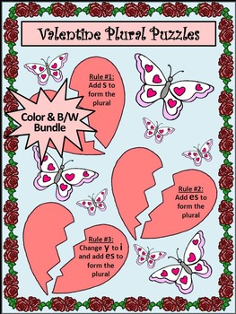 Valentine's Day Language Arts Activities: Valentine Plural Noun Puzzles Activity