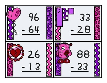 Valentine 2-Digit Subtraction w/ Regrouping Task Cards