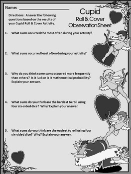 Valentine's Day Game Activities: Cupid Valentine's Day Roll & Cover Activity