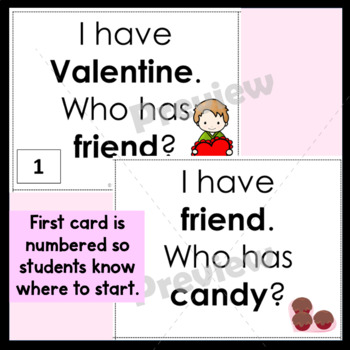 Valentines Day  I Have Who Has Game