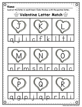 Valentine ABC Letter Matching Printables