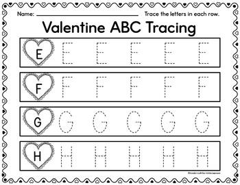 Valentine ABC Tracing Printables