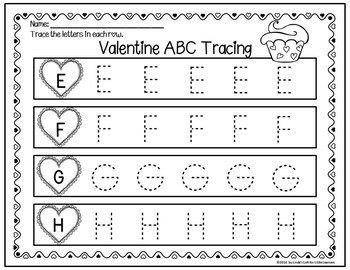 Valentine's Day ABC Tracing Printables