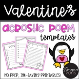 Valentine Acrostic Poem Templates