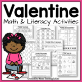 Valentine Activities Bundle - Math and Literacy - No Prep - Just Print