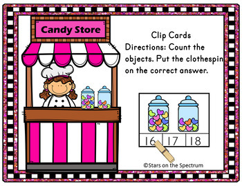 Valentine's Day Activities Counting Clip Cards Candy Store