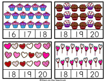Valentine  Activities Counting Clip Cards Bakery