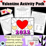 Valentine's Day - Bingo, Coloring Pages, Word Search, Writ