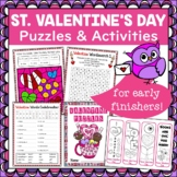 Valentine's Day Puzzle and Activity Pack for Early Finishers