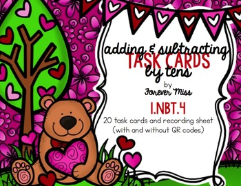 Valentine Adding and Subtracting by 10's Task Cards with/without QR Codes