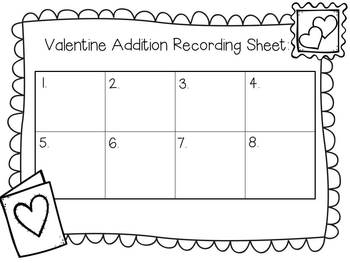 Valentine Cards Math ~ Addition  with 1 and 2 Digits ~ Grades 1-3
