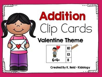 Valentine Addition Clip Cards