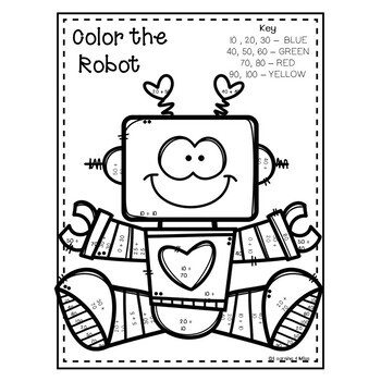 Valentine Addition Coloring Pages