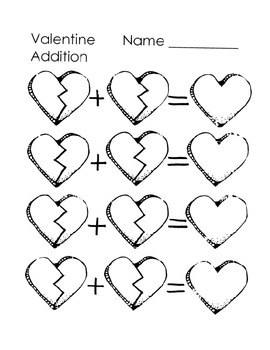 Valentine Addition Mat and Recording Sheet