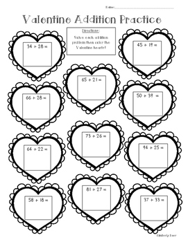 Valentine Addition Math Practice Worksheet