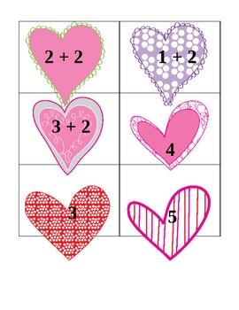Valentine Addition Memory Match Card Game