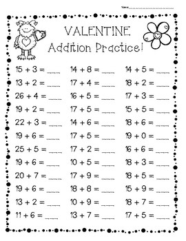 Valentine Addition Practice! - 3 Leveled Worsheets - Math