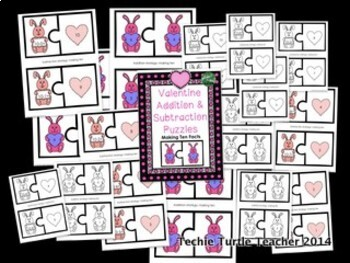 Valentine Addition & Subtraction Puzzles - Making Ten Facts