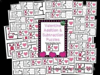 Valentine Addition & Subtraction Puzzles - Near Doubles Facts