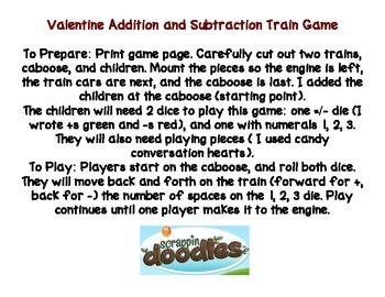 Valentine Addition & Subtraction Train Game