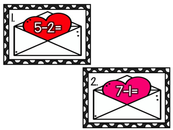 Valentine Addition & Subtraction Write the Room (BUNDLE)