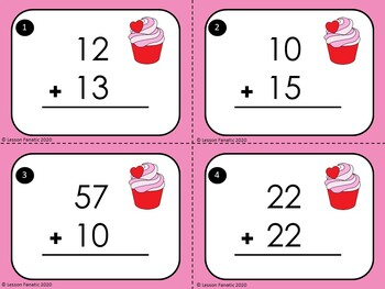 Valentine Addition Task Cards: Double Digit, No Regrouping
