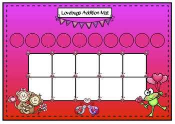 Valentine Addition Tens Frame Mat & Worksheets C/C Aligned
