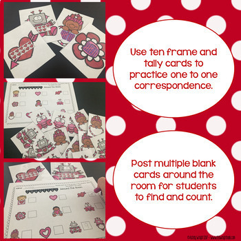 Valentine Math Around the Room (addition and counting) EDITABLE