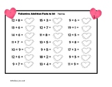 Addition and Subtraction Facts to 20--Quick Worksheets Valentine Theme