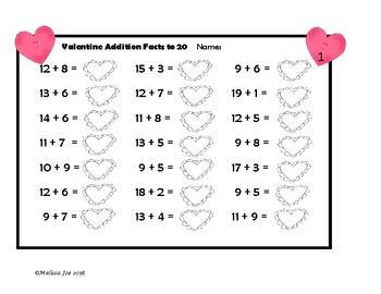Addition and Subtraction Facts to 20--Quick Worksheets Valentine ...