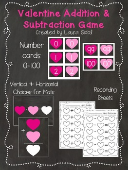 Valentine Addition and Subtraction Game