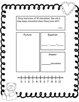 Valentine Addition and Subtraction Story Problems, Set 1