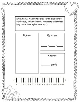 Valentine Addition and Subtraction Story Problems, Set 2