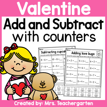 Valentine Addition and Subtraction with counters