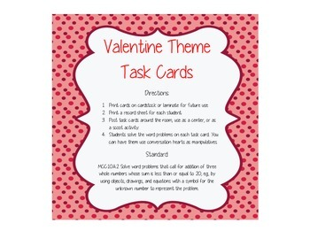 Valentine Addition with 3 Addends Task Cards