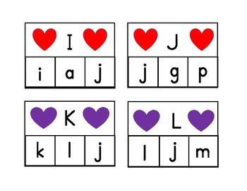 Valentine Alphabet Clip cards
