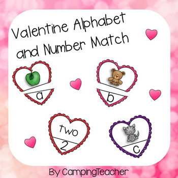 Valentine Alphabet and Number Matching Language Arts and Math Centers
