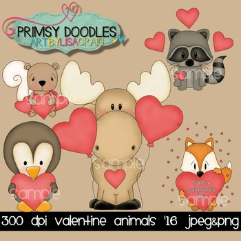 Valentine Animals '16 Clipart